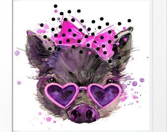 Piggy digital print. Piggy watercolor. Piggy hand drawn. Room digital print. Home decor print.