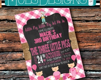 Any Color 3 Little PIGS PIGGY PINK Oink Oink Wolf Burlap Chalkboard Baby Girls 1st 2nd 3 4 5 6 Birthday Brunch Gingham Book Party Invitation