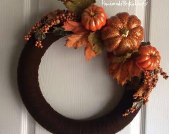 Fall yarn door wreath, autumn pumpkin wreath, fall wreath