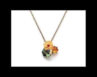 Les Nereides Enamel crystal flower necklace