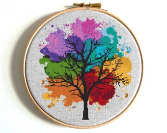 Four Seasons Cross stitch pattern Watercolor Art Rainbow cross stitch Tree Counted cross stitch Modern Embroidery Hoop Art Easy cross stitch