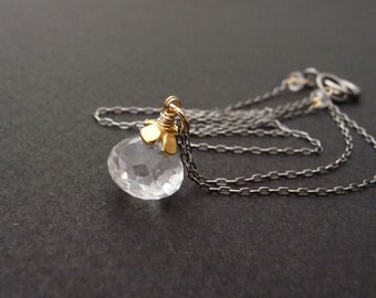 Rock crystal quartz pendant necklace, clear crystal quartz gemstone charm necklace, oxidized sterling silver chain necklace, gold accent