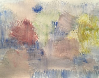 Abstract, acrylic on paper landscape painting