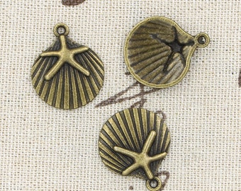 6 Shell Charm Pendant 22mm x 18mm Sea Shell with Star - Antique Bronze Tone - Jewelry Making