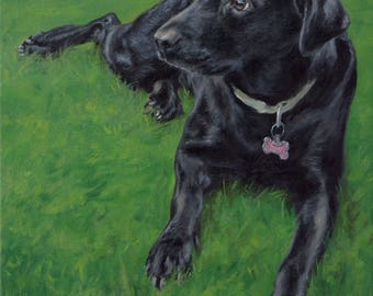 Pet portrait custom dog portrait, Labrador - oil painting on stretched canvas. ***Lowest price is 50% DEPOSIT price***