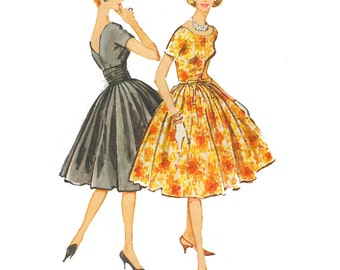 1950s Style Scoop Neck V Back Circle Full Skirt Dress with Cummerbund Belt Custom Made in Your Size From a Vintage Pattern
