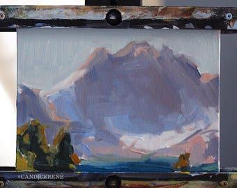 Mountain Study, Original Landscape Oil Painting by René, Fine Art Paintings, Mountain Painting, Wall Art, Lake Painting, Original Art