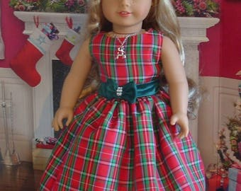 Red Plaid Taffeta Christmas Dress, Shoes, Headband and Necklace for American Girl Dolls