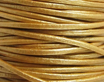 2 Yards - 1.5 mm Metallic Gold Leather Cord