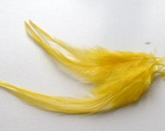 Loose Hackle Feathers - Yellow