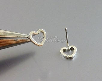 4 shiny 6mm tiny heart stud earrings, open heart silver earrings, heart earrings 1072-BR-6