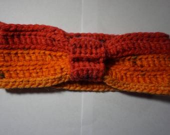 Crochet Red/Orange Ear Warmer/Headband - Women Medium