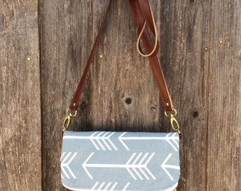 arrow fold over cross body bag  / grey and yellow / ready to ship
