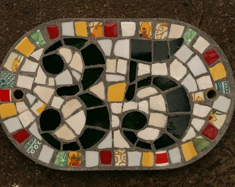 Bright colours 2 digit mosaic house number