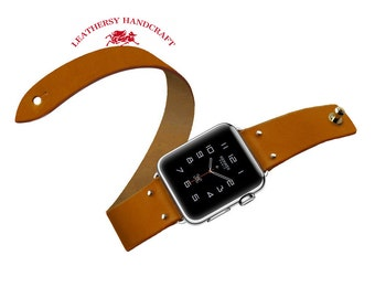 Double tour Apple watch Strap, Brown Vegetable tanned leather watch strap bracelet in Minimalist & Zen style