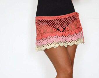 Coral skirt summer skirt beach skirt crochet skirt hippie skirts lace crochet skirt pink skirt girl coral skirts cotton skirt wedding beach