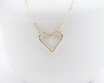 Heart Necklace in Sterling Silver, 14K Gold Filled, Rose, Valentines Day Gift, Gift For Her, Minimal Simple Necklace, Sweetheart Necklace