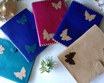JW BUTTERFLIES Leather Folder.Made in SMOOTH Leather  .Case for Tablet,Ipad and Tools for Ministries and More..
