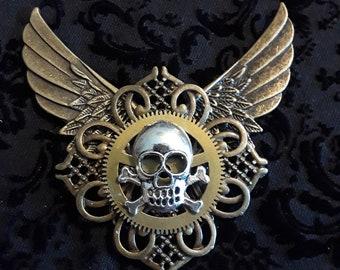 Steampunk Wing Pirate Skull Pin
