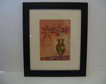 Decorative Wood Framed Picture - Flowers