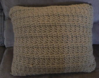 Small Ribbed Crochet Couch Pillow