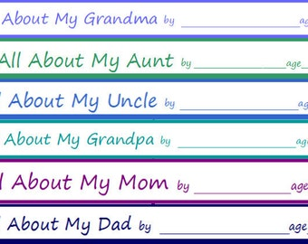 6 Printables for Children to Write about their Family Members - INSTANT DOWNLOAD