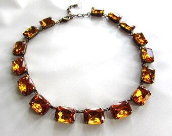 Anna Wintour Necklace, Citrine Collet Necklace, Topaz Georgian Paste Riviere Necklace, Regency Necklace, 18th Century Jewelry, Statement