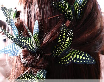 Butterfly Hair Slide Butterflies Hair Clips Woodland Wedding Gift for Her Green Silk Butterflies Hair Accessories Ethereal Party Accessories