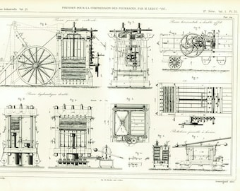 1874 Old Style Hay Baller Manufacturing Print. Antique Farm machinery Patent. Armengaud. Farming wall art decor