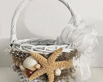 Beach Flower Girl Basket for Wedding | SeaShell Starfish Basket | Starfish Seashell Ring Pillow | Destination Wedding