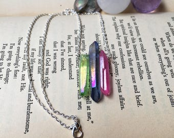 Aura Quartz Necklace, Green and Pink, Blue and Pink, Healing Crystal Necklace, Rainbow Necklace, Sparkle Necklace, Titanium Quartz Necklace
