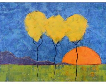 Tree Painting ... Yellow Trees ... Sunset Painting ... 18x24 Art ... Landscape Painting ... Original Art ... Large Tree Painting ... Modern