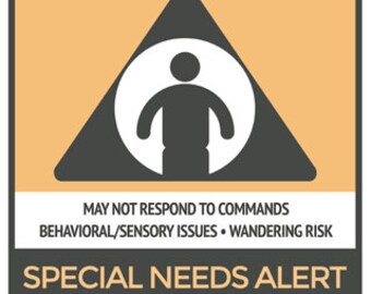 Special Needs Alert Window Cling for car or house/ Safety Alert/ Mom's taxi