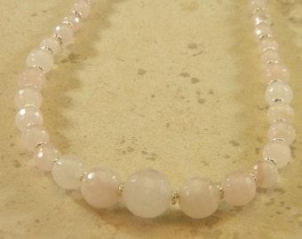 Rose Quartz Graduated Size OOAK Beaded Necklace