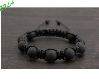 10mm Shamballa Mens Bracelet, Macrame Stone Jewelry, Matte Black Onyx Shamballa Bracelet,Black Macrame Bracelet,Friendship Bracelet Men