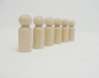 Wooden peg people boy unfinished DIY set of 6