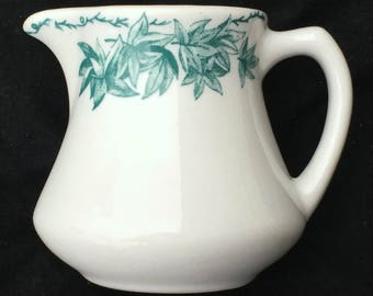Caribe Diner Hotel Restaurant China Green Leaves 10-oz. Creamer or Small Pitcher in Excellent Lightly-Used Condition