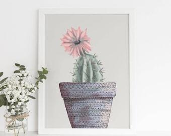 Large Cactus Poster, Desert Gallery Wall Art, Flower Cacti, Beige Art Print, Cactus Wall Decor, Potted Cactus Art, Digital Cactus Print