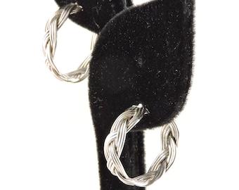 """Sterling Silver Triple Strand Weaved Open Hoop Earrings 7/8"""""""