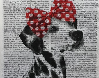 """3 Decoupage Beverage Napkins, Dog Dolly Red Bow Dalmatian 10""""x 10"""" Craft Supplies"""