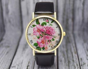 Pink Flower Watch | Vintage Floral Watch | Leather Watch | Women's Watch | Ladies Watch | Birthday Gift | Wedding Gift | Fashion Accessories