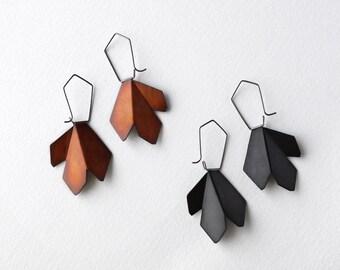 Statement Hook Earrings, Black Hook Earrings, Black Drop Earrings , Black Hoop Earrings, Silver Drop Earrings, Flower Earrings