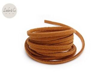 1 m suede hazelnut Brown 3mm x 1.5 mm suede cord
