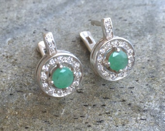 Emerald Earrings, Natural Emerald, Vintage Earrings, Victorian Earrings, May Birthstone, Antique Emerald, Sterling Silver Earrings