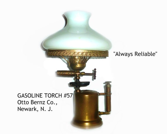 Vintage gasoline brass blow torch lamp otto bernz co 57