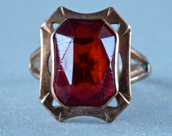 Reserved for Vera--Czech Art Deco Ring Ruby Red Emerald Cut Glass Stone Art Deco Tombak Size Large