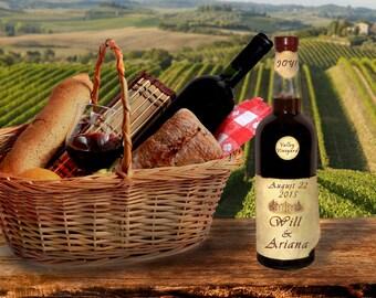 Personalized Wedding Gift - Names Wine Bottle Label - Romantic Anniversary Gift Photo Customized Vineyard pp118
