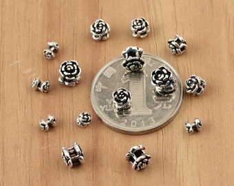 925 sterling silver rose beads, sterling silver rose, Thai Silver beads, Thai Silver rose, hill tribe silver flower beads