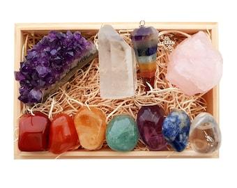 Healing Crystals, Healing Crystal Set, Healing Crystal Anxiety, Chakra Stone Set, Chakra Crystal Set,Amethyst Crystal Cluster,Chakra Crystal