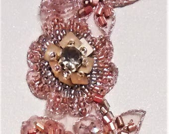E-157, Striking, Bronze and Rust Colored Rhinestone, Seed and Bugle Bead Sparkly Applique of Flowers and Leaves